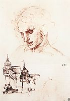 Study of an apostle-s head and architectural study, 1494-1498, vinci