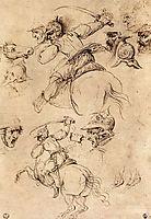 Study of battles on horseback, 1503-1504, vinci