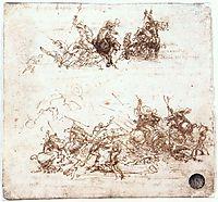 Study of battles on horseback and on foot, 1503-1504, vinci