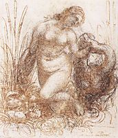 Study for a kneeling Leda, 1503-1507, vinci