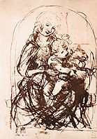 Study of the Madonna and Child with a Cat, 1478, vinci
