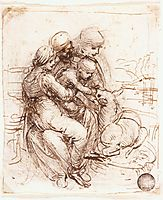 Study of Saint Anne, Mary, the Christ Child and the young Saint John, 1501-1506, vinci