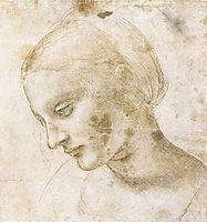 Study of a woman-s head, 1490, vinci