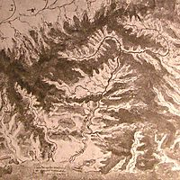 Topographical drawing of a river valley , c.1500, vinci