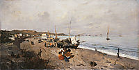 Boats and Children on the Beach, 1875, volanakis
