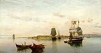 Anchored boats , 1895, volanakis