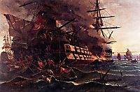 The attack on the Turkish flagship in the Gulf of Eressos at the Greek island of Lesvos by a fire ship commanded by Dimitrios Papanikolis, volanakis