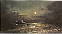 Boat at moonlight, volanakis