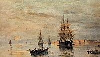 Sailing ships at dawn, volanakis