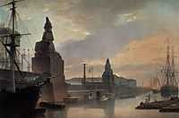 Sphinxes lining a quay in front of St. Petersburg Academy of Arts, 1835, vorobiev