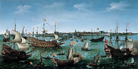 The Arrival at Vlissingen of Frederick V, Elector Palatine, 1632, vroom