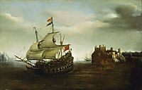 A Castle with a Ship Sailing Nearby, 1626, vroom