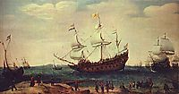 The Departure of the East Indiamen, 1630, vroom