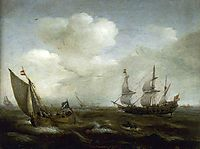 A Dutch Ship and a Kaag in a Fresh Breeze, 1630, vroom
