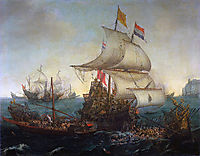 Dutch Ships Ramming Spanish Galleys off the Flemish Coast in October 1602, 1617, vroom