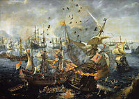 The explosion of the Spanish flagship during the Battle of Gibraltar, 25 April 1607 (attributed by some to Vroom), vroom