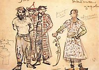 Captured Pechenegs (Costume design for the opera , 1896, vrubel