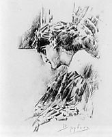 Demon looking, c.1891, vrubel