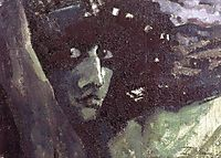 Head of Demon with mountains, 1890, vrubel