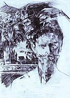 Portrait of Doctor Fiodor Usoltsev with an Icon in the Background, c.1904, vrubel