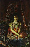 Portrait of a Girl against a Persian Carpet, 1886, vrubel