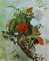 Red Flowers and Leaves of Begonia in a Basket, c.1887, vrubel