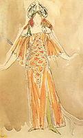 Volkhova, the sea princess (Costume design for the opera , 1897, vrubel