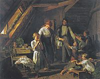 arting of the parents - the oldest child takes care of brothers and sisters in the absence of parents , 1854, waldmuller