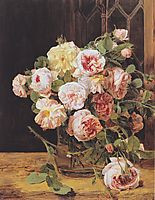 Bouquet of roses at the window , 1832, waldmuller