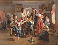 The departure of the conscript , 1854, waldmuller