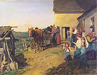 Farewell to the bride by the parents , 1863, waldmuller