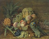 Fruit Still Life with an Amazon parrot , 1824, waldmuller