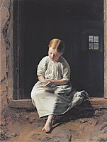 Girl lost in contemplation of an image of the Virgin , 1853, waldmuller