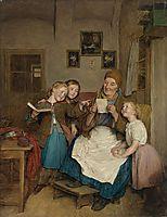 Grandmother with three grandchildren , 1854, waldmuller