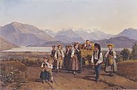 Homecoming from the harvest (On Lake Zug) , 1844, waldmuller