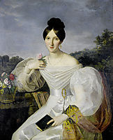 A lady in a white dress and shawl before a Viennese landscape, waldmuller