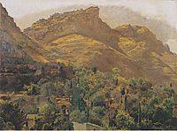 Look to the mountain town of Mola at Taormina , 1844, waldmuller