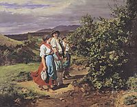 The lovers at a crossroads. Return from work , 1861, waldmuller
