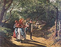 Meeting in the woods , 1863, waldmuller