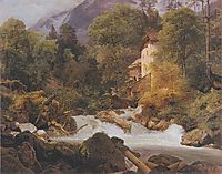Mill at the outlet of the Königssee , 1840, waldmuller