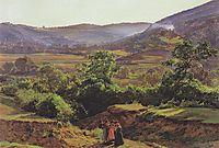 Mountain landscape with the ruins of Liechtenstein in Mödling , 1859, waldmuller