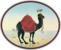 Painting of the logo of the restaurant Zum Schwarzen Kameel, waldmuller