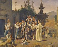 Refreshment at the city-s fountain of Taorimina , 1846, waldmuller