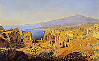The ruin of the Greek theater in Taormina, Sicily, 1844, waldmuller