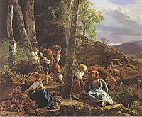 rushwood collectors in the Wienerwald, 1855, waldmuller