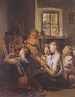 Singing children , 1858, waldmuller