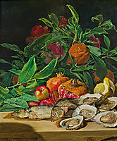 Still life with ostriches, fish and exotic fruit , 1842, waldmuller