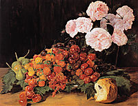 Still life with roses, strawberries, and bread, 1827, waldmuller