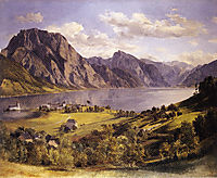 Traunsee with Orth-castle, c.1830, waldmuller