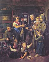 A traveling family of beggars is rewarded by poor peasants on Christmas Eve , 1834, waldmuller